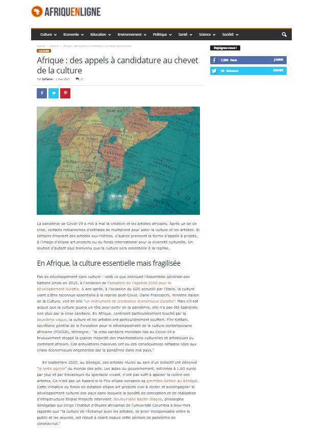 Afrique en ligne content